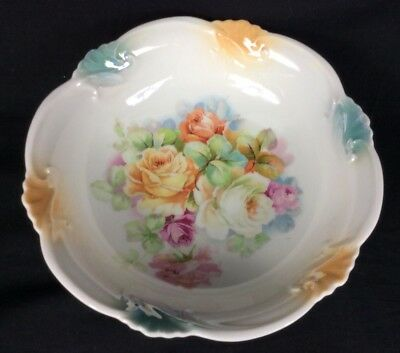 Vintage Antique Germany Hand Painted Porcelain Floral Design Bowl Roses 8""