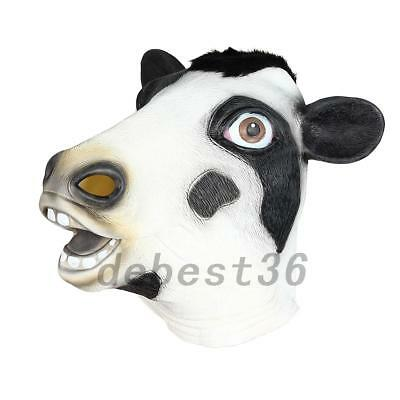 20d70cb633174 NOVELTY HALLOWEEN COSTUME Party Latex Cow Head Mask Cosplay Animal Fancy  Dress