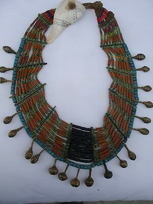 Superb Naga Glass Trade Bead Necklace, Engraved Conch Shell Pendant, Brass Bells