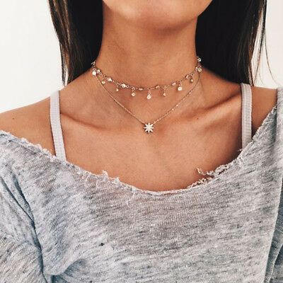 Women Star Pendant Choker Necklace Gold Silver Crystal Chain Rhinestone