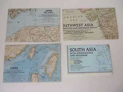 Vintage National Geographic Map Lot of 4 Asia China Japan Korea  #8577