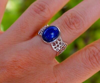 Highly Valued by Ancient Egyptians, Lapis Lazuli 925 Sterling Silver Ring s.