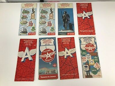 Lot Of 8 Vintage 1950's/60's Ma, Ct, Ri Flying A Road Maps