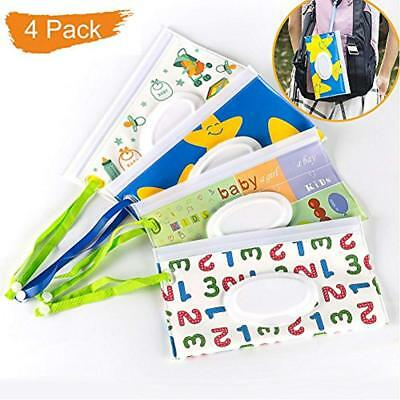4Pcs Travel Wipe Holders Wipes Case Premium Baby Wet Pouch Eco Friendly For Gift