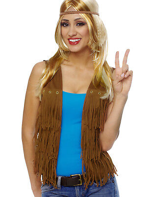 Brown Fringe Womens Adult 60S Hippie Vest Costume Accessory
