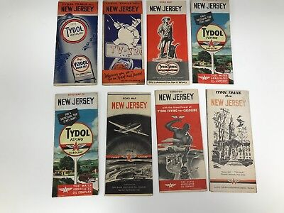 Lot Of 8 Vintage 1930's/40's New Jersey Flying A Road Maps