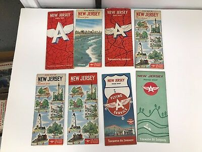 Lot Of 8 Vintage 1950's/60's New Jersey Flying A Road Maps