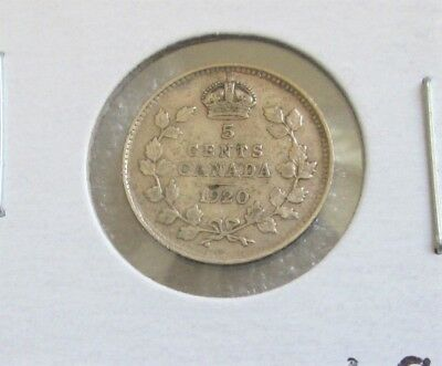 """CANADIAN 1920 SILVER 5 CENTS COIN! """"FISH SCALE"""" Mintage 5 cents 10 649 851 NICE"""