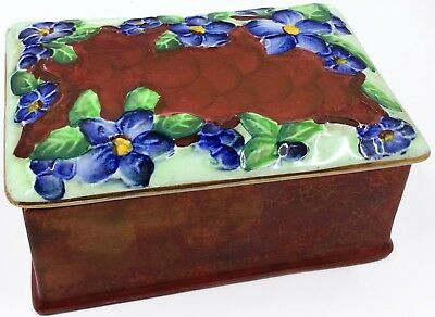 Vintage MALING Trinket Box Lusterware Blue Flowers on Brown Newcastle England