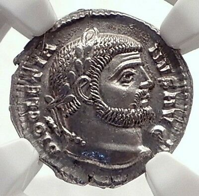DIOCLETIAN 295AD Authentic Ancient Silver Roman Argenteus Coin NGC MS i71714