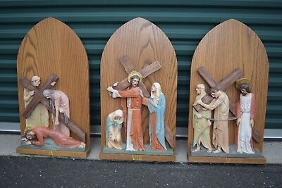 """+ Set of 14 Stations of the Cross + 29"""" ht. x 16"""" wide + chalice co. (SL52)"""