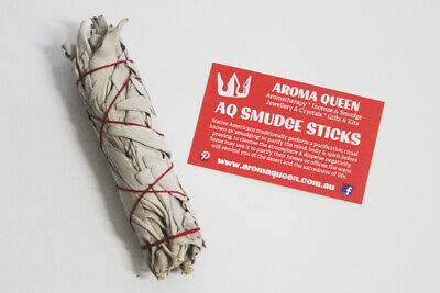 AQ Smudge Stick - SMALL-MED CALIFORNIA WHITE SAGE 11-13cm Thick Style +Inst Card