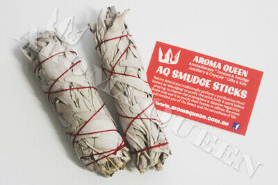 AQ Smudge Stick x TWO - SMALL-MED CALIFORNIA WHITE SAGE 11-13cm Thick Style
