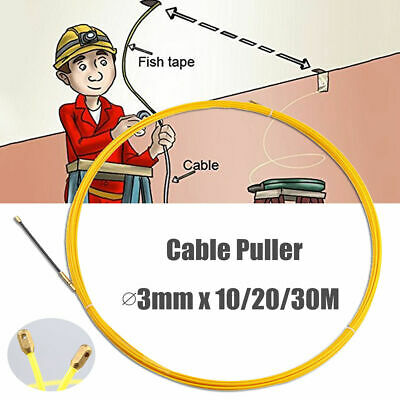 10/20/30M 3mm Fiberglass Cable Wall Snake Puller Push Electric Wire Fish Tape