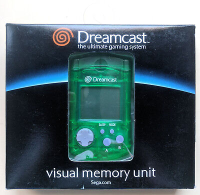 BRAND NEW Official SEGA DREAMCAST GREEN Visual Memory Unit VMU ORIGINAL BOX
