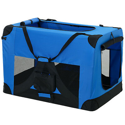 PRO.TEC® Hundetransportbox XL BLAU Faltbar Transportbox Hunde Box Trage Tasche