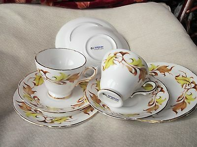 2 X Elegant Gilded Trios & Extra Saucer Plus 2 Side Plates Sutherland China 9Pcs
