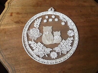 """Pretty Lace On Metal Hoop Wall Window Hanging Flowers And Cat With Kitten 8"""""""