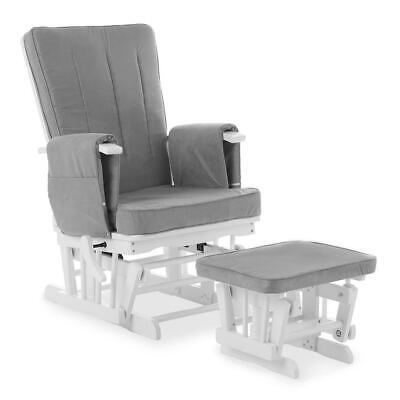 Obaby Deluxe Reclining Glider Chair & Stool (White with Grey)