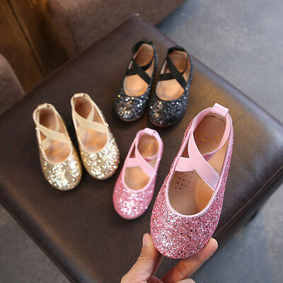 Sweet Child Kids Baby Toddler Girls Sequins Bling Princess Shoes Dancing Shoes