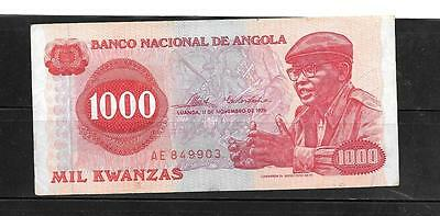ANGOLA #113a 1976 VF CIRCULATED OLD 1000 KWANZAS BANKNOTE PAPER MONEY  BILL NOTE