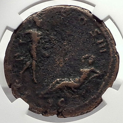 ANTONINUS PIUS Authentic Ancient 140AD ROMAN Coin RHEA SILVIA & MARS NGC i71721