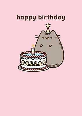 Pusheen The Cat Happy Birthday Cake Greetings Card Blank Inside New