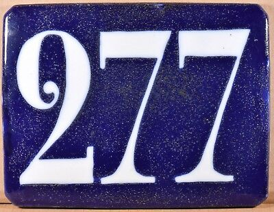 Old blue French house number 277 wall plate plaque porcelain enamel sign C19th