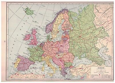 1940 Map of Europe With Railroads Shown In Red - Map of England & Wales On Back