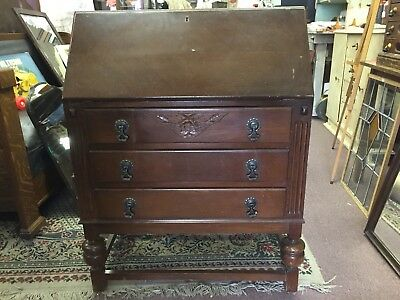 Vintage Imported English Relief Carved Secretary Desk With Key