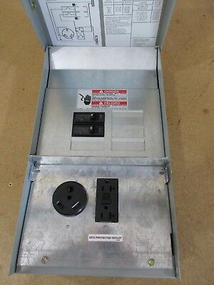 125 Amp RV Power Outlet Panel Box with 30 Amp & 20 Amp Receptacle & Breaker