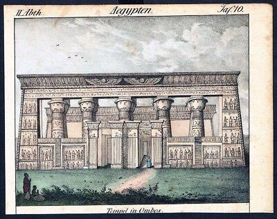 1830 - Kom Ombo Egypt Ägypten costumes Trachten Lithographie litho