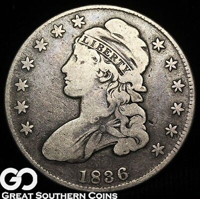 1836 Capped Bust Half Dollar, Tough Early Silver Half