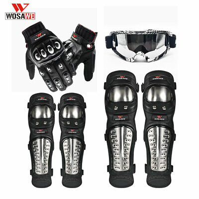 Motorcycle Protective Gear Knee Shin Guard Motobike Windproof Glasses Warm Glove