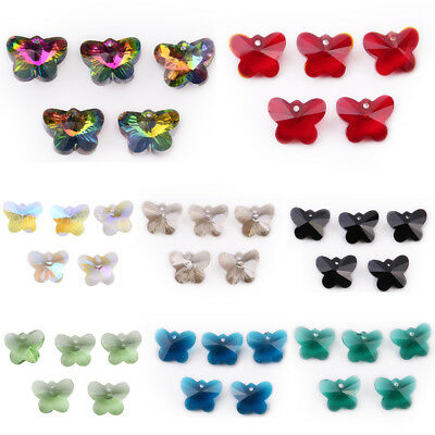 10Pcs Butterfly Faceted Crystal Glass Charms Pendant Loose Spacer Beads DIY 14mm