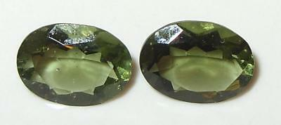 1.72ct Pair Faceted TOP QUALITY Natural Czechoslovakia Moldavite Oval Cut 8x6mm