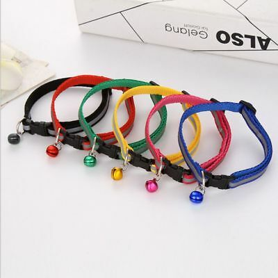 Pet Cat Dog Puppy Glossy Reflective Adjustable Collar Safety Buckle Bell Straps