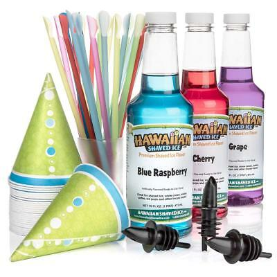 Hawaiian Shaved Ice 3 Flavor Fun Pack of Snow Cone Syrup | Kit Features 25 Snow