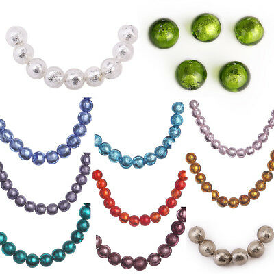 10mm 10pcs Round Charm Silver Foil Inside Lampwork Glass Loose Spacer Beads