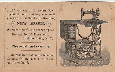 """Sewing Machine Trade Card~""""new Home"""" Brand~Richmondville, Ny Store"""