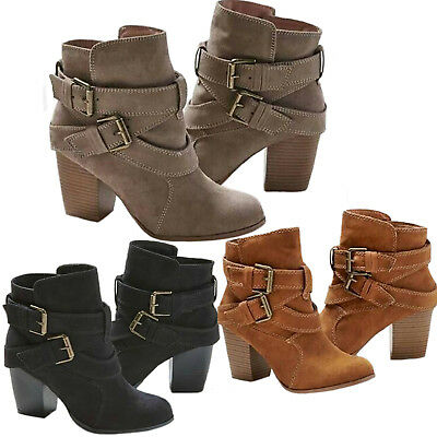 Damen Stiefeletten Ankle Boots Blockabsatz Stiefel Pumps Winter Freizeit Schuhe