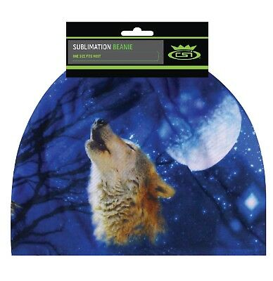 Wolf Howling Moon Beanie Hat Skull Cap Head Wear Sublimation Color Sock Capsmith