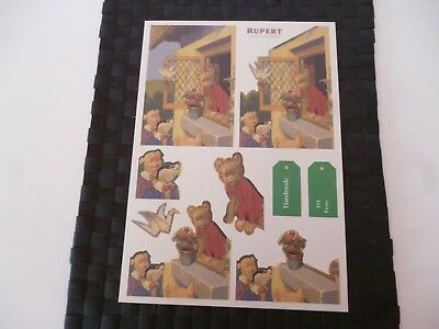 Rupert Bear Illustrated Colour A4 Thin Card Sheet *please Read & As Pictures*
