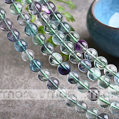 """3A Synthetic Fluorite Gemstone Round Beads 15.5"""" Inche Strand 4 6 8 10 12mm"""