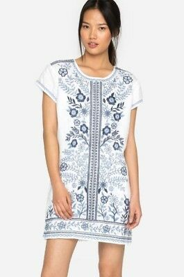 NWT JOHNNY WAS Lei Lei Embroidered Linen Peasant Dress Tunic White ...