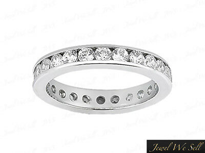 Natural 1ct Round Round Diamond Channel Set Eternity Band Ring 14k White Gold