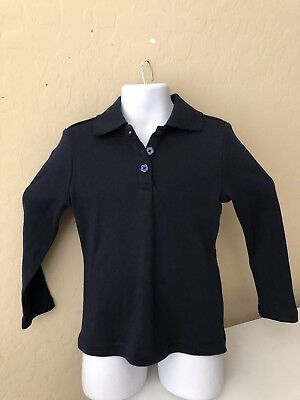 Sz 4 Girls French Toast Knit Polo Front Button Long Sleeve Top Uniform Navy Blue