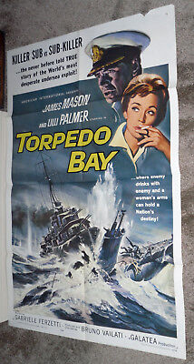 TORPEDO BAY original WW2 27x41 one sheet movie poster JAMES MASON/LILLI PALMER