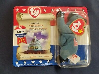 TY Beanie Baby Lefty The American Donkey - New In Box