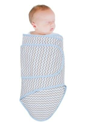 Miracle Baby Muslin Blanket MiracleBlanket Cotton Swaddle Blue White Grey